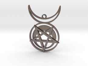 HORNED SUN WITCH Pendant in Polished Bronzed-Silver Steel