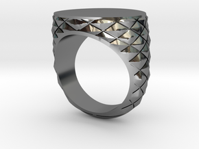 Mens Geometric Signet Ring in Fine Detail Polished Silver