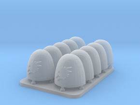 Space Dragons v6 Smooth Shoulder Pads in Smooth Fine Detail Plastic