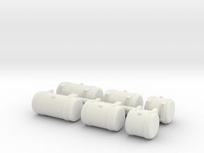 1/64th Builders Pack of 6 truck fuel tanks in White Natural Versatile Plastic