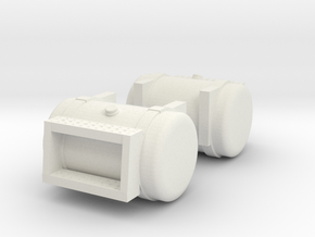 "1/64th Diesel Truck 36"" Fuel Tanks w Steps in White Natural Versatile Plastic"