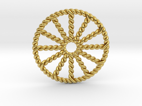 Twisted Zodiac Wheel in Polished Brass