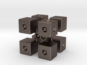 Corner Blocks Die  in Polished Bronzed Silver Steel