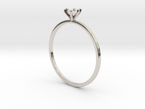 Plain Size 7 Ring - 4mm Gem - 6 prong - v1 in Platinum