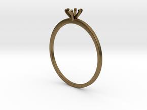 Plain Size 7 Ring - 4mm Gem - 6 prong - v5 in Natural Bronze