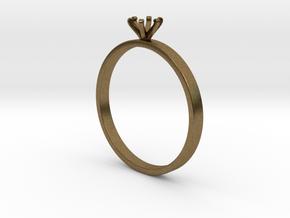 Plain Size 7 Ring - 4mm Gem - 6 prong - v4 in Natural Bronze