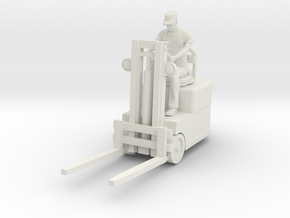 Forklift with Figure HO scale in White Natural Versatile Plastic