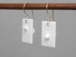 Light Switch Earrings in White Processed Versatile Plastic