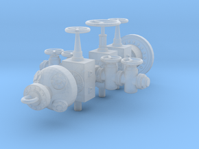 1/50th Wellhead with BOP for Hydraulic Fracturing  in Smooth Fine Detail Plastic