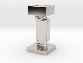 Dual-use lamp (table lamp + night light) in Rhodium Plated Brass