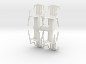 Plastic Chair (x4) 1/43 in White Natural Versatile Plastic