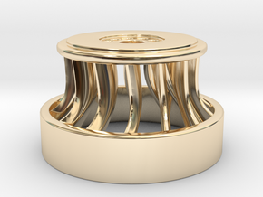 Francis Hydroelectric Turbine Runner in 14K Yellow Gold: 1:48 - O