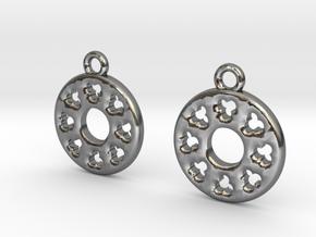 Rosette type 3 [earrings] in Polished Silver