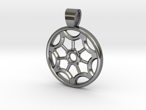 Rosette type 2 [pendant] in Polished Silver