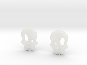 Eyebrow Skull Earrings in Smooth Fine Detail Plastic