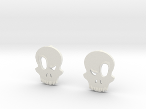 Eyebrow Skull Earrings (Small) in White Strong & Flexible