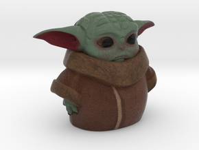 baby yoda 60mm / 2.4 inches tall  in Natural Full Color Sandstone
