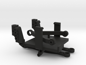 SCX24 Low CG ESC/RX Mount + Shock Towers in Black Natural Versatile Plastic
