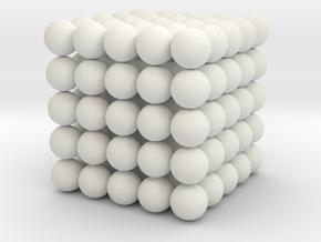 Cube spheres in White Natural Versatile Plastic: Medium