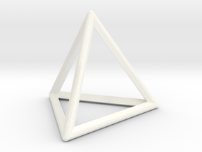 Wireframe Polyhedral Charm D4/Tetrahedron in White Processed Versatile Plastic