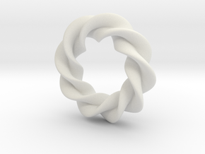 Twisted Torus in White Natural Versatile Plastic: Small