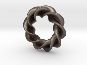 Twisted Torus in Polished Bronzed-Silver Steel: Small