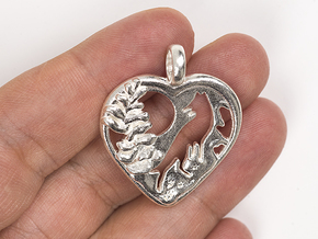 Frozen Heart Wolf Moon Necklace Charm in Polished Silver