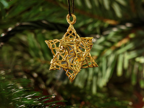 Stellated Dodecahedron Bauble in Polished Gold Steel