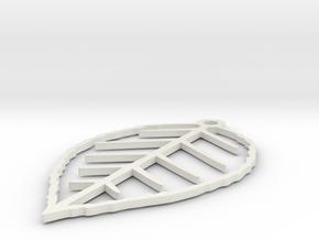 Leaf earring in White Natural Versatile Plastic