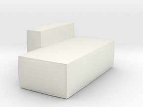 Miniature 1:48 Pouf in White Natural Versatile Plastic: 1:48 - O