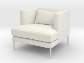 miniature 1:48 Armchair in White Natural Versatile Plastic: 1:48 - O