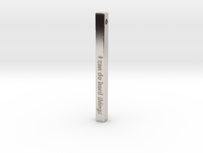 """Vertical Bar Customized Pendant """"I can do hard"""" in Rhodium Plated Brass"""