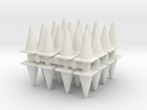 Traffic Cones (x32) 1/87 in White Natural Versatile Plastic