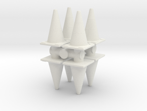Traffic Cones (x8) 1/56 in White Natural Versatile Plastic