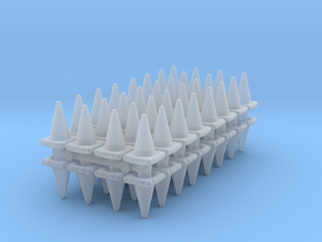 Traffic Cones (x64) 1/160 in Smooth Fine Detail Plastic