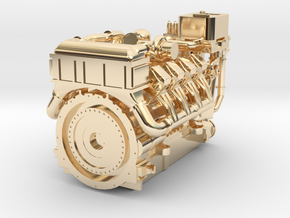 1380HP V8 Diesel Turbocharged Industrial Engine in 14K Yellow Gold: 1:48 - O