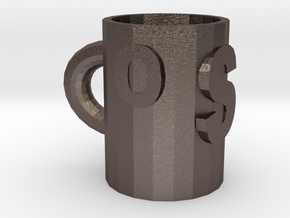 cup in Polished Bronzed-Silver Steel