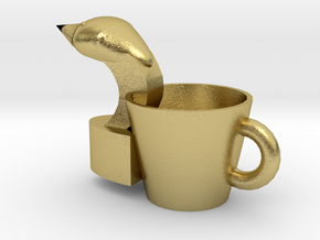 Swan hand put cup in Natural Brass
