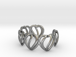 Heart Cage Bracelet (5 large hearts) in Natural Silver