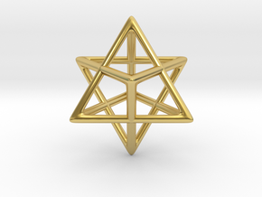 Star Tetrahedron Pendant in Polished Brass: Small