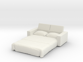 Sofa Bed 1/76 in White Natural Versatile Plastic