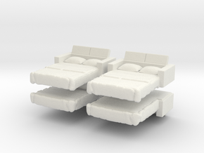 Sofa Bed (x4) 1/144 in White Natural Versatile Plastic