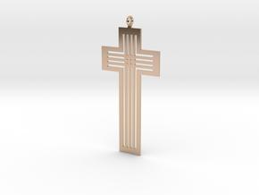 Designer Cross Pendant in 14k Rose Gold Plated Brass