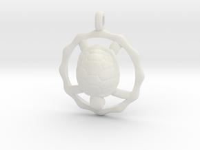 TURTLE TOTEM Jewelry Symbol Pendant in White Natural Versatile Plastic