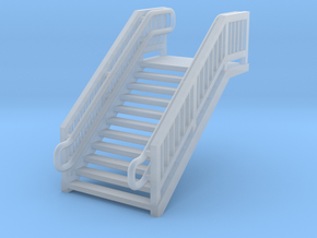 N Scale Steel Station Stairs 13.75mm in Smooth Fine Detail Plastic