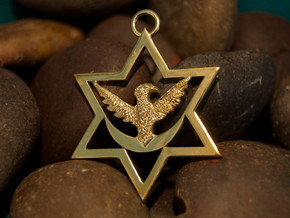 Six Pointed Eagle and Star Pendant in Polished Brass