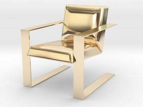 Miniature Luxurious Modern Accent Chair in 14K Yellow Gold