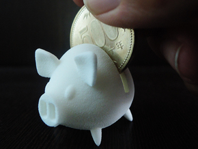 Micro Piggy Bank (Small) in White Natural Versatile Plastic