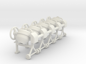 Cement mixer 02 .1:64 Scale in White Natural Versatile Plastic
