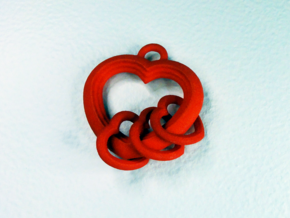 Linked Heart Pendant in Red Processed Versatile Plastic
